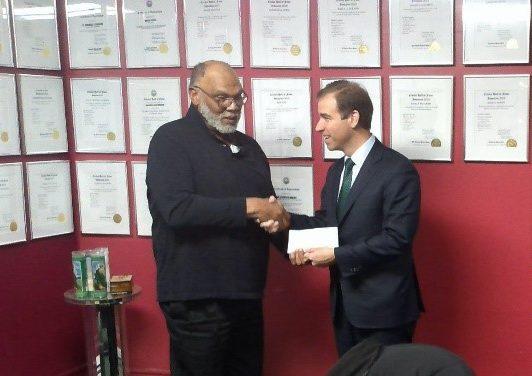 Hartford's Mayor Luke Bronin Presents Check for T20 Cricket Tournament